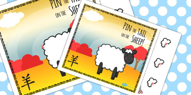 Chinese New Year Pin the Tail on the Sheep Activity - activity