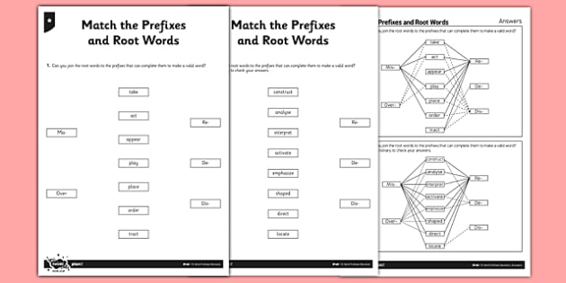 Match the Prefixes and Root Words Differentiated Activity Sheet Pack - GPS, Prefixes, Root Words, worksheet