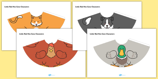 Little Red Hen Cone Characters - little red hen, cone characters, craft, cone