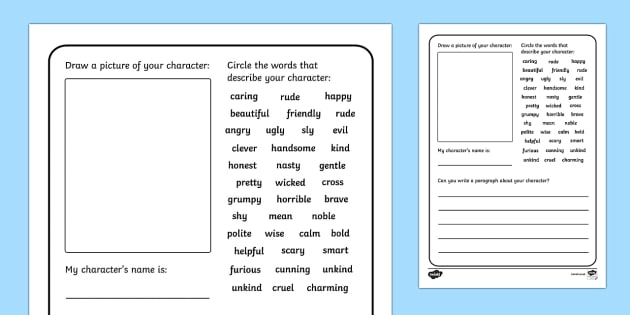 Design A Character Writing Frames - Design A Character Writing Frames, characters, different, description, describing, describe, character, how is, what does it look like, kind of person, creative, writing, independent, writing template, writing fram