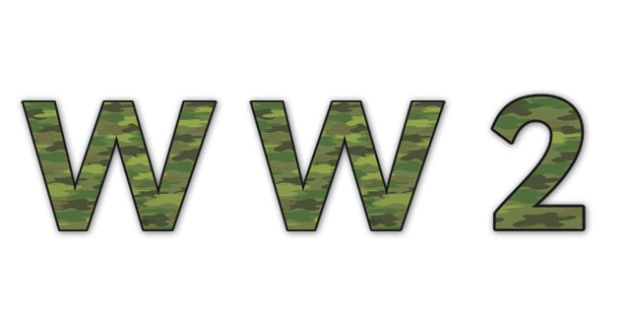 'WW2' Display Lettering - ww2 display lettering, world war two display lettering, world war two, world war 2, world war two lettering, world war 2 lettering