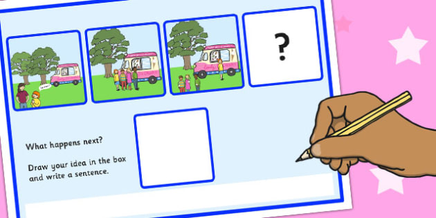 What Happens Next? Fill in the Blank Worksheet for 'Ice Cream Van' - ice cream, van, happens, next