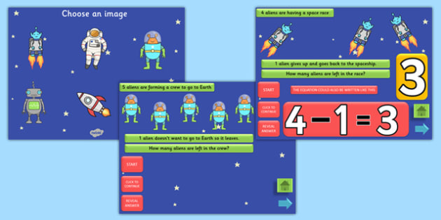 Space Themed Subtraction PowerPoint - space, subtraction, take away, minus, powerpoint, subtraction powerpoint, maths, numeracy, numeracy powerpoint, maths