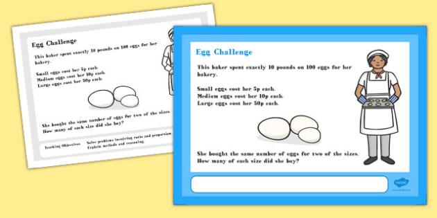 Egg Maths Challenge A4 Display Posters - Egg, Math, Challenge