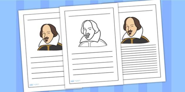 William Shakespeare Writing Frame - william shakespear, writing frame, writing template, writing guide, writing aid, line guide, writing guide, themed aid