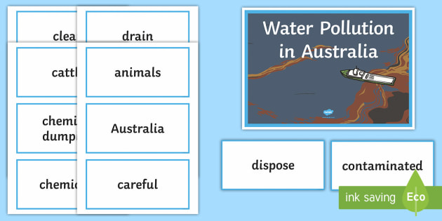 Water Pollution in Australia Word Wall Display Cards - Water in Australia, pollution, water pollution, water, rivers, lakes, sustainability,Australia