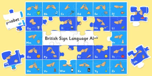 Large Floor British Sign Language Alphabet Jigsaw - alphabet
