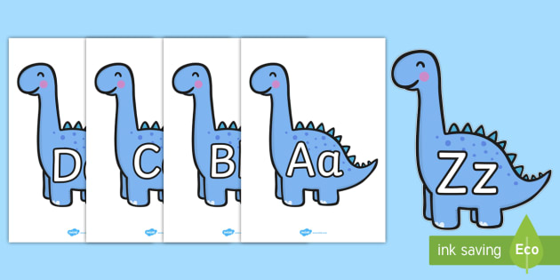 A-Z Alphabet Uppercase and Lowercase on Diplodocus Dinosaurs