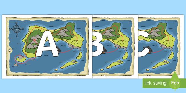A-Z Alphabet on Treasure Maps - A-Z, A4, display, Alphabet frieze, Display letters, Letter posters, A-Z letters, Alphabet flashcards