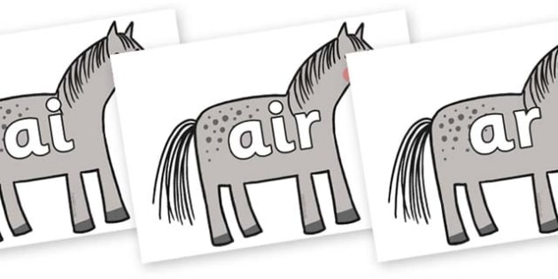 Phase 3 Phonemes on Horse to Support Teaching on What the Ladybird Heard - Phonemes, phoneme, Phase 3, Phase three, Foundation, Literacy, Letters and Sounds, DfES, display