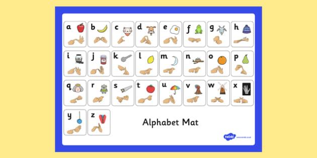 Alphabet Mat with British Sign Language Fingerspelling