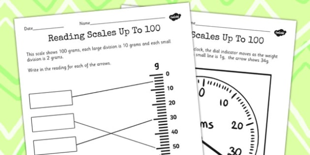 Reading a Scale Up To 100 - Reading, Scale, 100, Hundred,  Maths