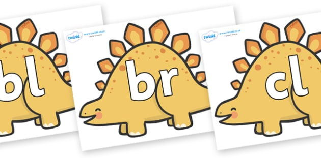 Initial Letter Blends on Stegosarus Dinosaurs - Initial Letters, initial letter, letter blend, letter blends, consonant, consonants, digraph, trigraph, literacy, alphabet, letters, foundation stage literacy