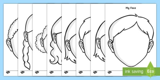 Blank Faces Templates - Printable Face Template