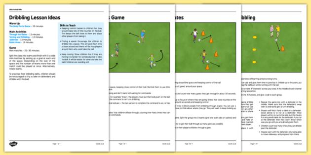 UKS2 Football Skills 1 Dribbling Lesson Pack - football, PE, sport, exercise, KS2, UKS2, Key Stage 2, year 5, year 6, skills, physical education, ball skills, team sports