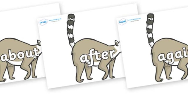 KS1 Keywords on Lemurs - KS1, CLL, Communication language and literacy, Display, Key words, high frequency words, foundation stage literacy, DfES Letters and Sounds, Letters and Sounds, spelling