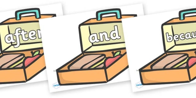 Connectives on Lunch Boxes - Connectives, VCOP, connective resources, connectives display words, connective displays