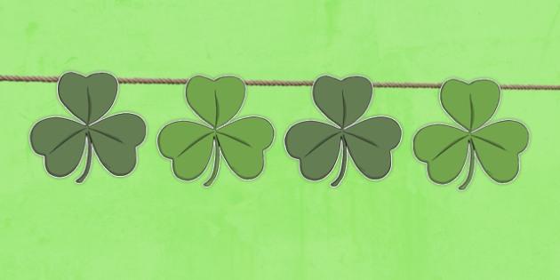 St Patricks Day Shamrock Shape Bunting - st patricks day, display