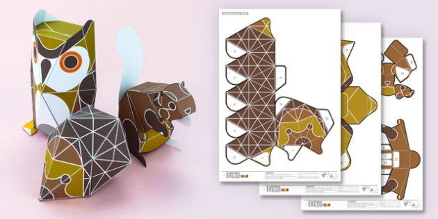 3D Woodland Animals Paper Model Printables - creatures, woods, animals, craft, modelling, design,