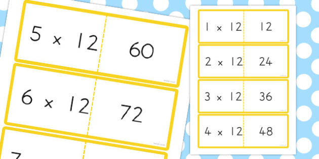 12 Times Table Cards - australia, times table, times tables, cards, 12, times