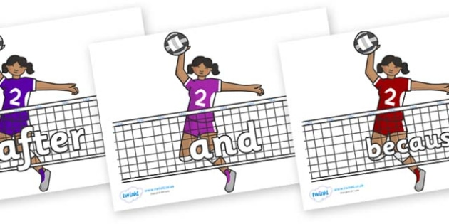 Connectives on Volleyball - Connectives, VCOP, connective resources, connectives display words, connective displays