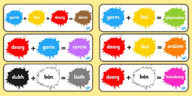Colour Mixing Pack Gaeilge - gaeilge, colour, mixing, pack, mix, colour mixing