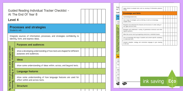 New Zealand End of Year 8 Reading Individual Tracker Checklist - Assessment, End of Year 8, Reading