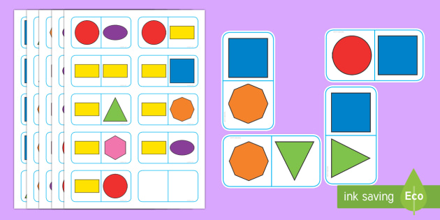 2D Shape Dominoes - 2d, shapes, dominoes, game, activity, shape