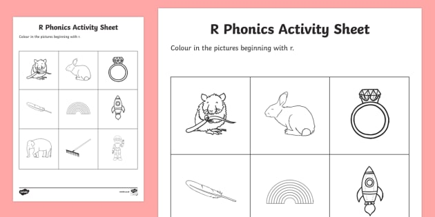 r Phonics Colouring Activity Sheet-Irish - Republic of Ireland, Phonics Resources, sounding out, initial sounds, colouring, activity sheet, pho