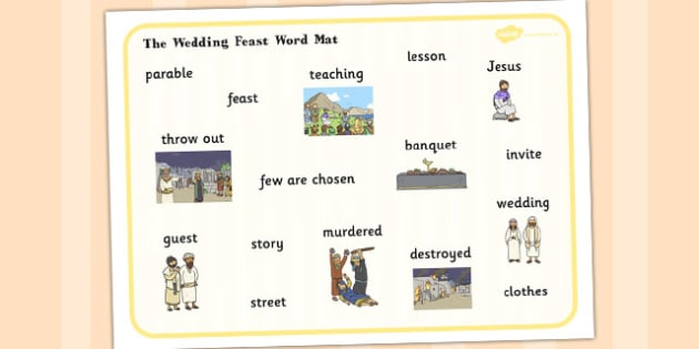 The Wedding Feast Word Mat - parable, wedding, feast, religion