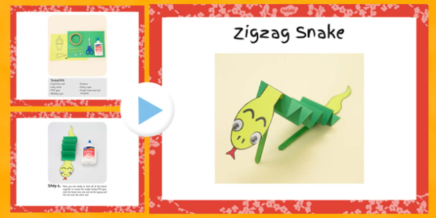 Zigzag Snake Craft Instructions PowerPoint - craft, snake, zigzag, instructions, powerpoint