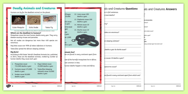 Deadly Animals and Creatures Differentiated Reading Comprehension Activity