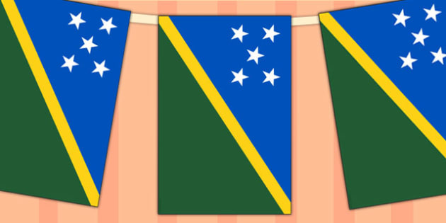 Solomon Islands Flag Display Bunting - countries, geography, flag