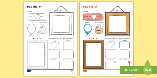This Is Me Activity Sheet - German  - Back to School, School, All about me, German