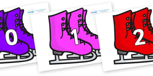 Numbers 0-100 on Ice Skates - 0-100, foundation stage numeracy, Number recognition, Number flashcards, counting, number frieze, Display numbers, number posters