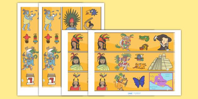 Aztec Display Borders - Aztec, aztec people, Mexican, display border, classroom border, border, history, Mexico, tenochtitlan, texcoco, lake, temple, tenoch, Valley of Mexico