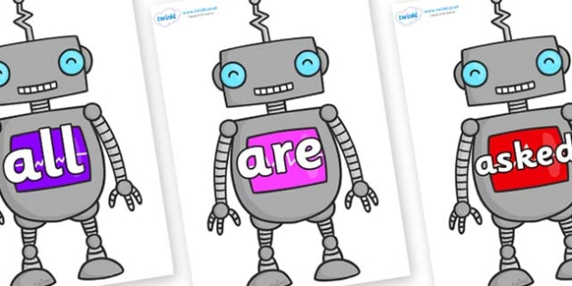 Tricky Words on Robots - Tricky words, DfES Letters and Sounds, Letters and sounds, display, words