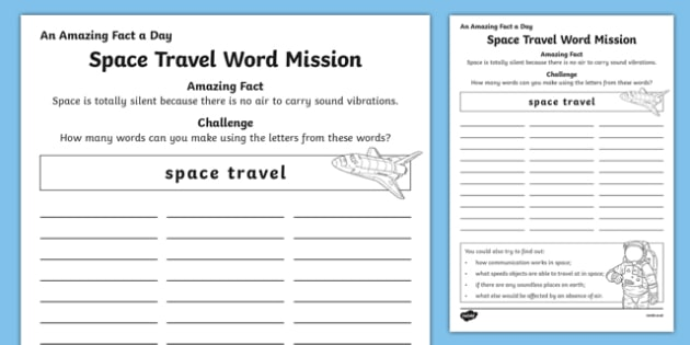 Space Travel Word Mission Activity Sheet, worksheet