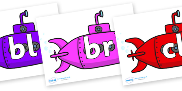 Initial Letter Blends on Submarines - Initial Letters, initial letter, letter blend, letter blends, consonant, consonants, digraph, trigraph, literacy, alphabet, letters, foundation stage literacy