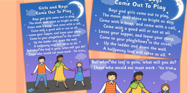 Boys and Girls Come Out to Play Song Poster - poster, display