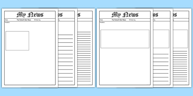 My News Writing Template - News, The news, Writing Template, Blank  templates, letter, letter writing, letters, editable, editable template, foundation stage, Template, letter design, fine motor skills, activity