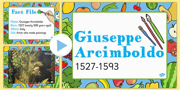 Food KS1 Giuseppe Arcimboldo Information PowerPoint Presentation, fruit faces,