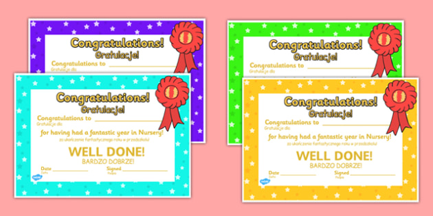 End of Term Certificates Polish Translation - polish, End of term, award, scroll, reward, award, certificate, medal, rewards, school reward