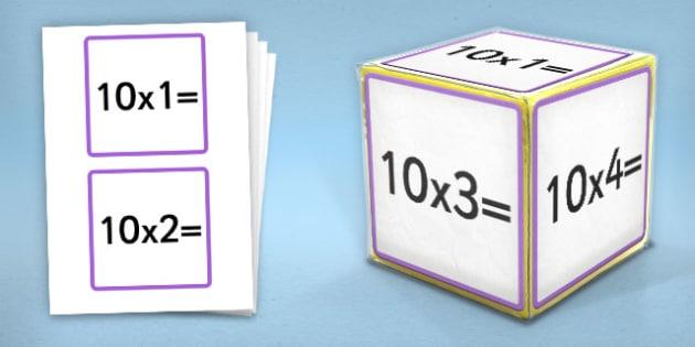 Giant Foam Dice Squares 10 Times Tables - foam dice, squares, 10