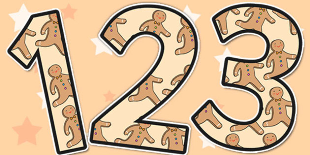 The Gingerbread Man Themed Display Numbers - display numbers