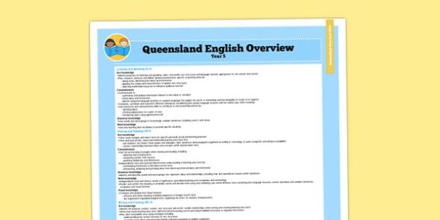 Queensland Curriculum Year 5 English Literacy Syllabus Overview - australia