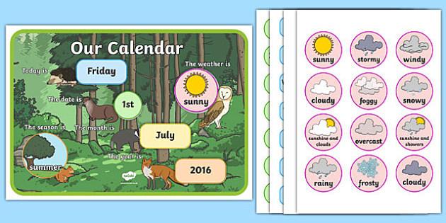 Woodland Themed Display Calendar - woodland, display calendar, display, calendar