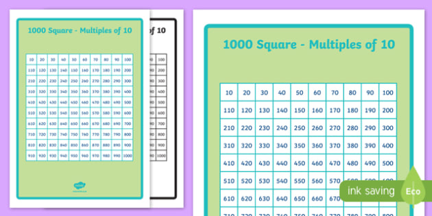 1000 Number Square Multiples of 10 - 1000 number square, number square, numbers, multiples of 10, multiples