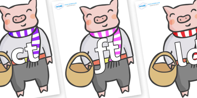 Final Letter Blends on Little Piggy - Final Letters, final letter, letter blend, letter blends, consonant, consonants, digraph, trigraph, literacy, alphabet, letters, foundation stage literacy