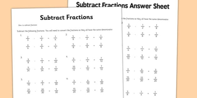 Year 6 Subtract Fractions Sheet 1 Activity Sheet - new curriculum, year 6, fractions, subtract fractions, subtract, maths